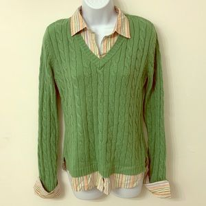 Aeropostale lime green cable knit layered sweater